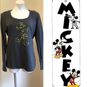 EUC Disney Parks Sequin Mickey Gray/Green XL